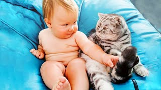 Funny Babies Playing With Cats - Newborn Babies and Pets