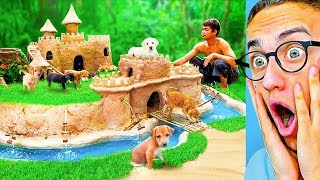 He Built An INSANE CASTLE HOUSE For PUPPIES! (Primitive Technology)