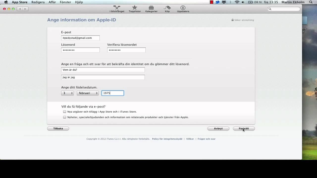hur gör man ett nytt apple id