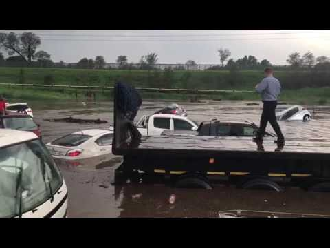 N3 Linksfield, Johannesburg. Cars under water during flash floods