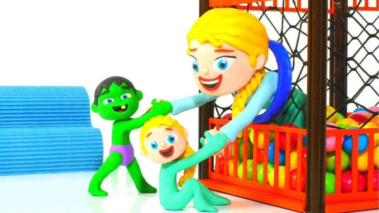 FROZEN ELSA HAVING FUN AT THE BALL PIT ❤ Spiderman, Hulk & Frozen Elsa Play Doh Cartoons For Kids