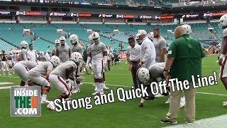 Hurricanes Offensive Line vs. Defensive Line 1-on-1s | Jonathan Garvin, Greg Rousseau, Zion Nelson