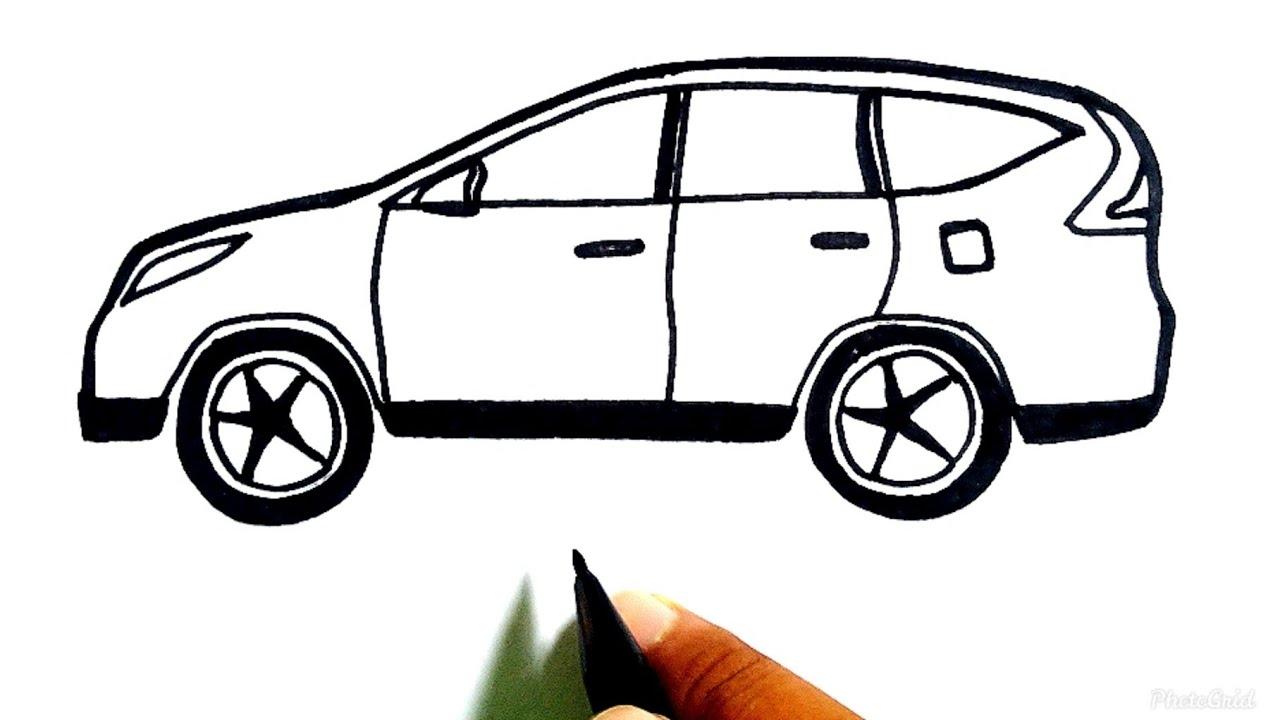 Menggambar Mobil Belajar Cara Menggambar Mobil Keluarga Honda Crv Dan Mewarnai Dn Youtube