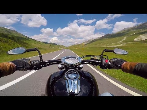 Riding to France through Maddalena Pass / Col de Larche - Piedmont, Italy - road SS21