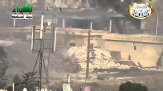 Syria Qaboun missile hit the tank 13 7 2013