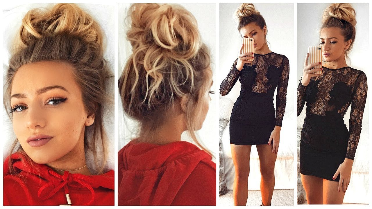 BUN HAIR TUTORIAL & 3 OUTFITS TO GO WITH IT! 7