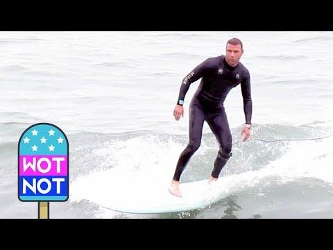 Liev Schreiber Surfing in Malibu
