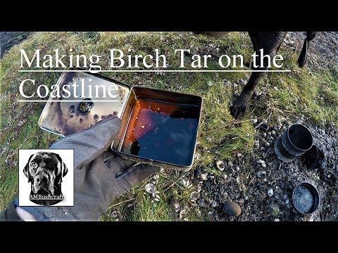 Making Birch Bark Oil. Birch Tar. Russian Oil. How To Make Birch Oil. Scotland.