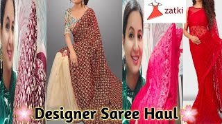 Maroon and Beige Velvet,Net Saree And Rossy red Net Saree || Wedding Saree Haul From Zatki ||