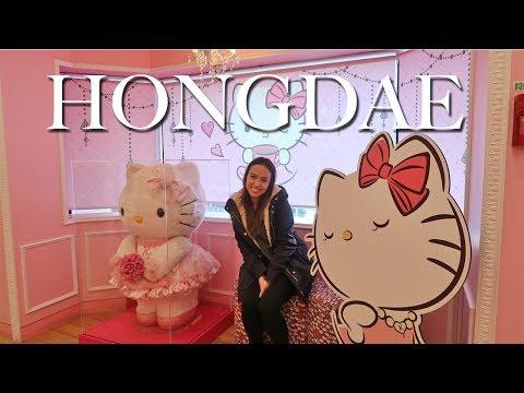 Korea Vlog 2- Exploring Hongdae Area, Hello Kitty Cafe, and Luxury Noraebang