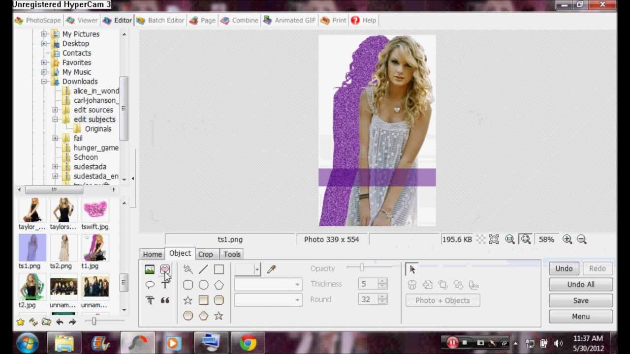 How to make a glittery Silhouette/Shadow edit in Photoscape