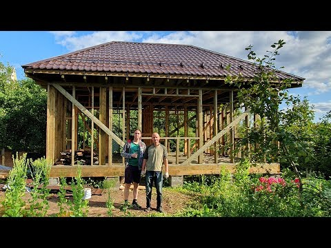 How Russians Build Houses: The ROOF Is READY,  Start The WALLS / Different Russia 2019