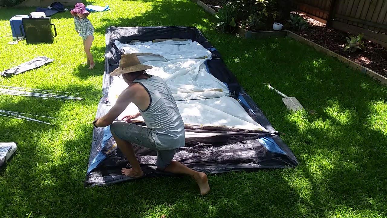 Oztrail Bungalow 9 tent setup & Oztrail Bungalow 9 tent setup - YouTube