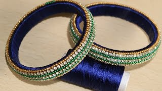 How to make SILK THREAD BANGLE with gold drop chain ||Partywear Designer Bangles || DIY Crafts Ideas