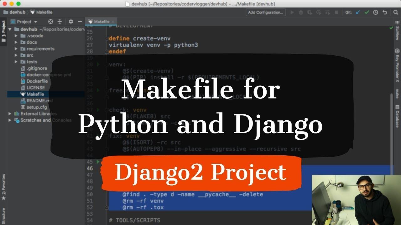 Using Makefile in Python and Django project