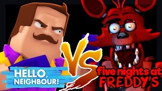 Minecraft - HELLO NEIGHBOUR VS FOXY (Five Nights at Freddy's Challenge Game)