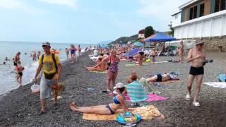 Крым.СОЛНЕЧНОГОРСКОЕ.пляж и море,МНОГО ТУРИСТОВ,ХОРОШИЙ ПЛЯЖ