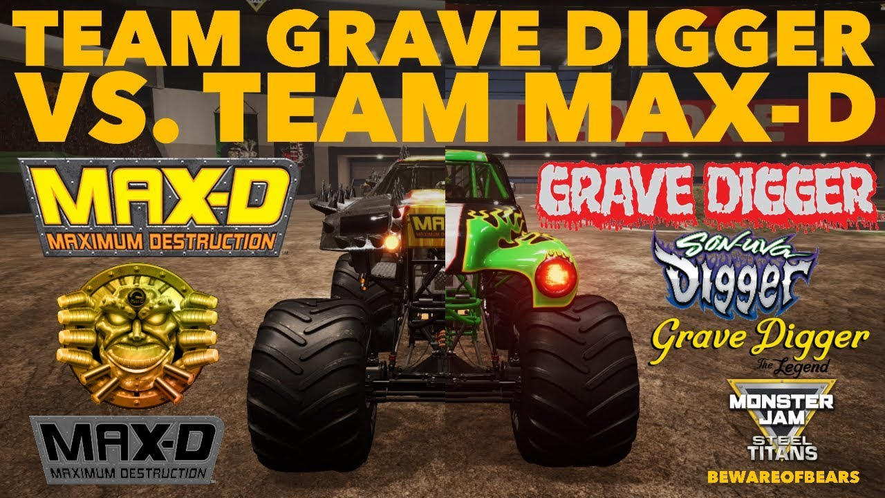 Monster Jam Steel Titans Team Grave Digger Vs Team Max D Freestyle Competition Gameplay Youtube