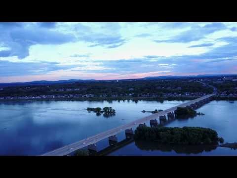 Harrisburg PA Aerial View by drone in 4k