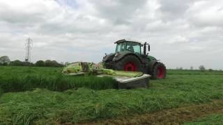 Metcalfe Silage 2016 with Fendt 936 Reverse drive and Claas triple mowers