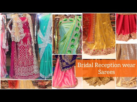 Bridal Reception Sarees / Heavy Work Party Wear Collections with price at Sowcarpet