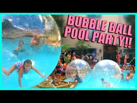 SWIMMING POOL PARTY WITH MASSIVE BUBBLE BALLS!