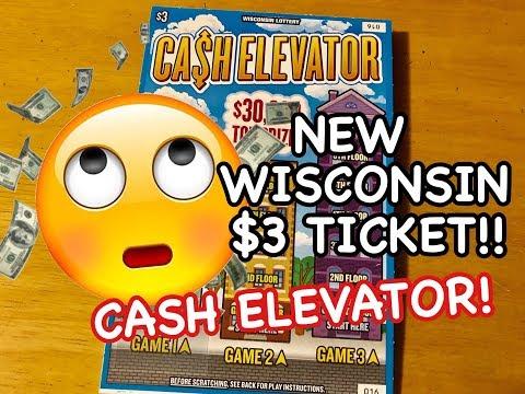 NEW $3 WISCONSIN CASH ELEVATOR TICKET! Wisconsin Lottery Scratch Offs!!