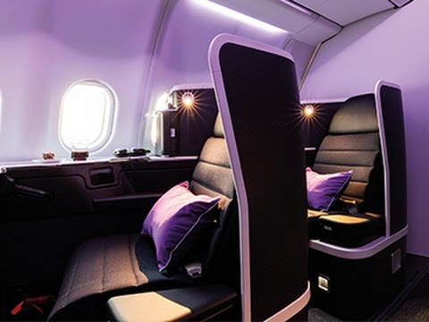 Virgin Australia Business Class, B777 cabin & bar designed by tangerine