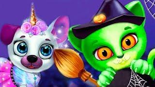 - Мультики для детей КОШЕЧКА и СОБАЧКА хэллоуин Смешные ПРИЧЕСКИ и НАРЯДЫ Игра для малышей про котят