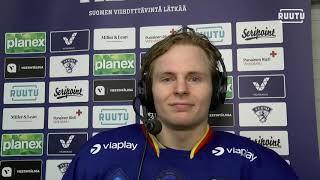 Tehot 2+1 iskenyt Joonas Niemelä haastattelussa Koovee -ottelun jälkeen
