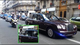 Queen Elizabeth II   enormous  convoy in Paris.