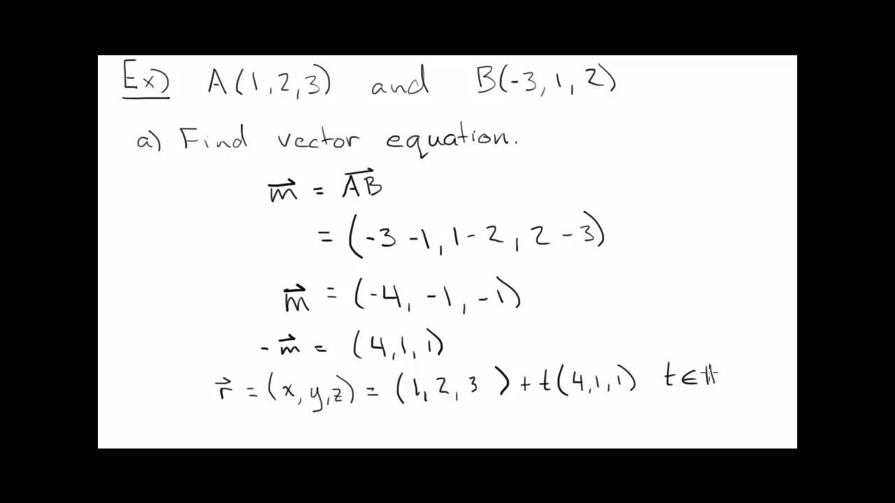 Vector, Parametric and Symmetric Equations on Lines in R3 - YouTube