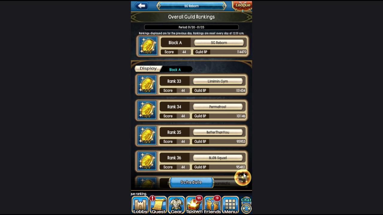 [Unison League] Season 9 Ranked Guild Battle Ranking Results (End)
