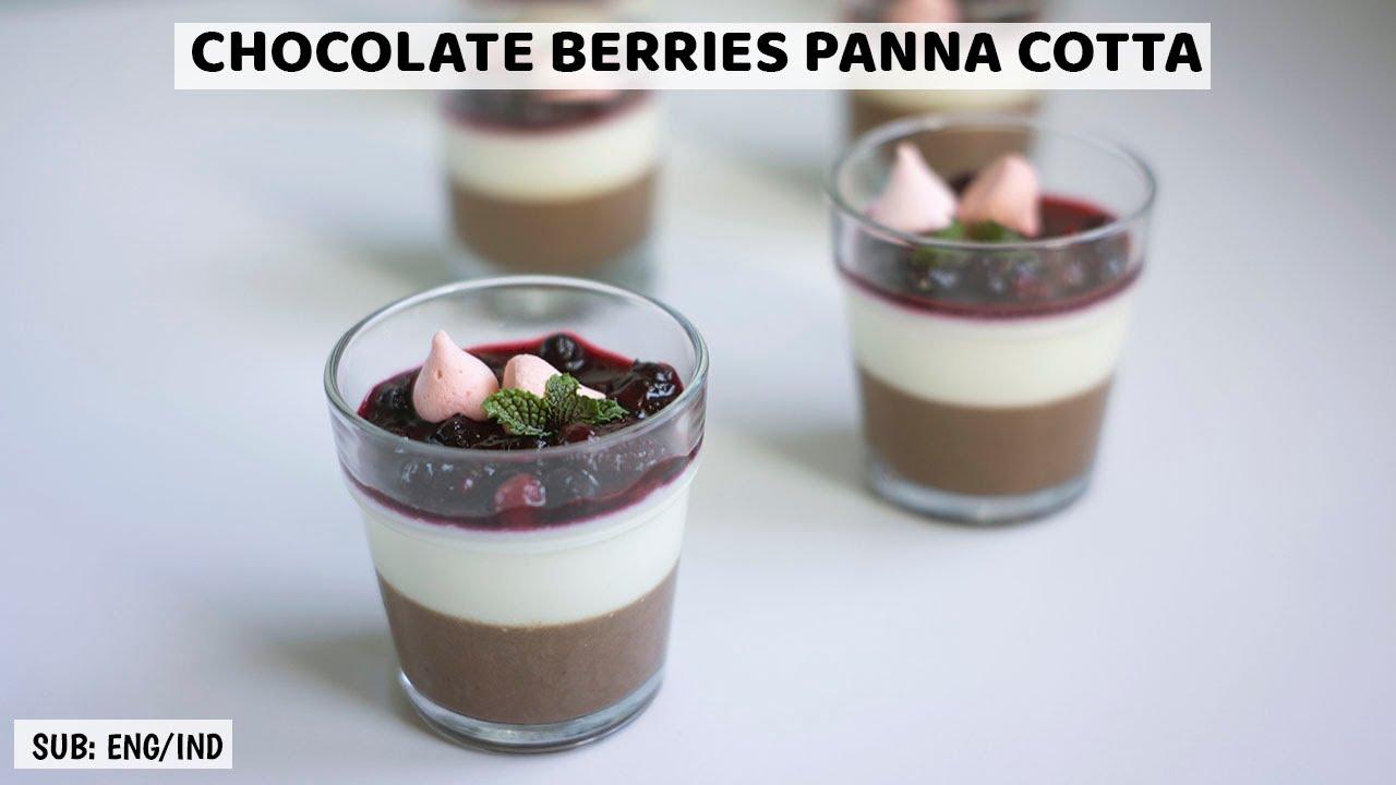 HOW TO MAKE EASY PANNA COTTA | CHOCOLATE BERRIES PANNA COTTA