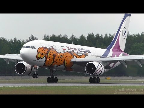 RARE: Meraj Airlines Airbus A300-600 'Asiatic Cheetah' beautiful smoky landing | St. Petersburg