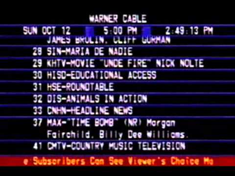 1986 Warner Cable Channel Lineup