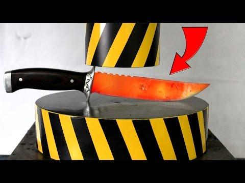 EXPERIMENT Glowing 1000 degree KNIFE vs HYDRAULIC PRESS 100 TON