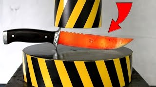EXPERIMENT Glowing 1000 degree KNIFE vs HYDRAULIC PRESS 100 TON