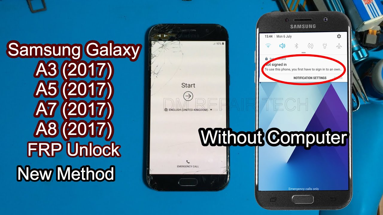 SAMSUNG Galaxy A3,A5,A7 (2017) FRP/Google Lock Bypass Android 8.0.0 Notifications Fix 2020 New
