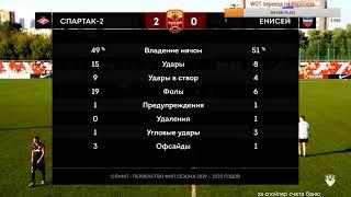 СПАРТАК 2 - ЕНИСЕЙ (FC Spartak Moscow 2 - FC ENISEY). Прямая трансляция. ФНЛ. 9 тур
