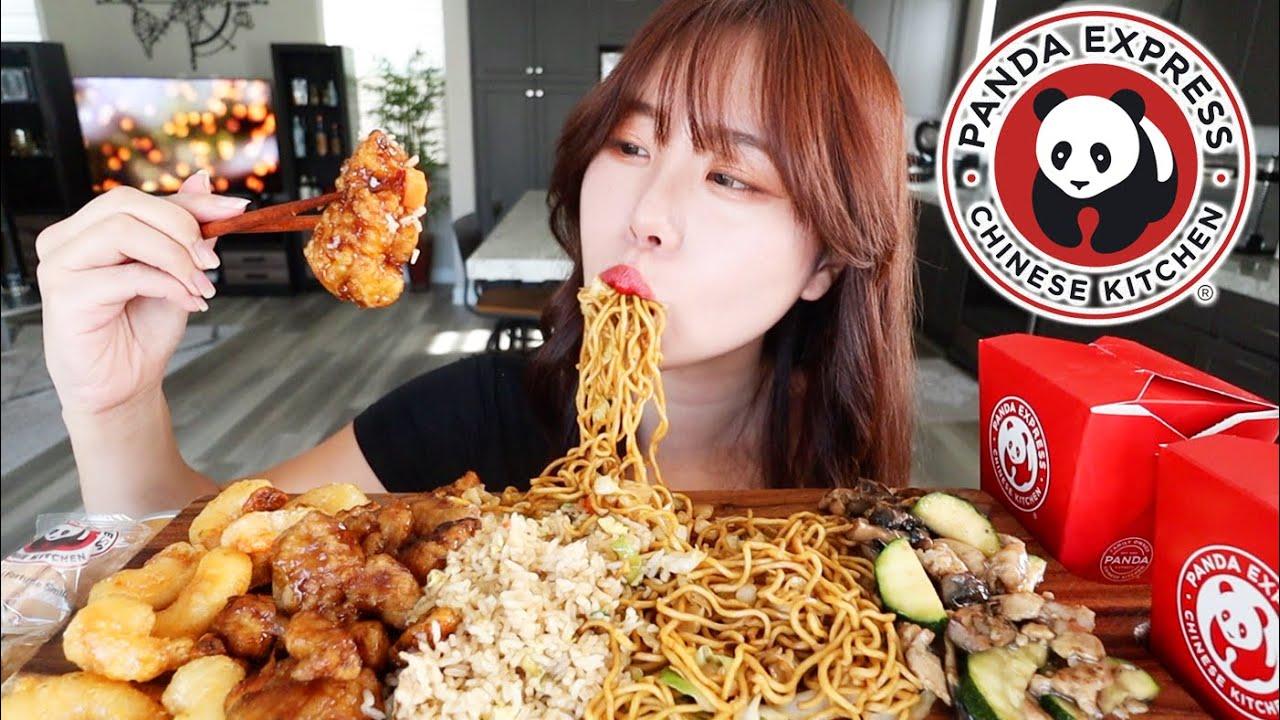 PANDA EXPRESS MUKBANG 먹방 Honey Walnut Shrimp, Orange Chicken, Mushroom Chicken, Chow Mein Fried Rice