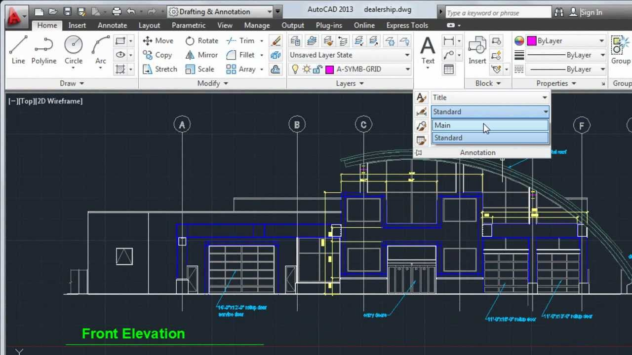 Autocad 2013 tutorial how to create text and dimensions for Simple architectural drawing software