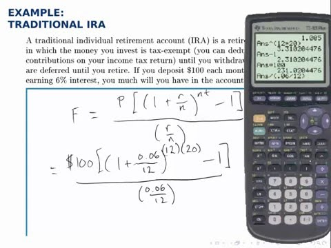Finance Example Savings Annuity with Formula (Traditional IRA - annuity equation