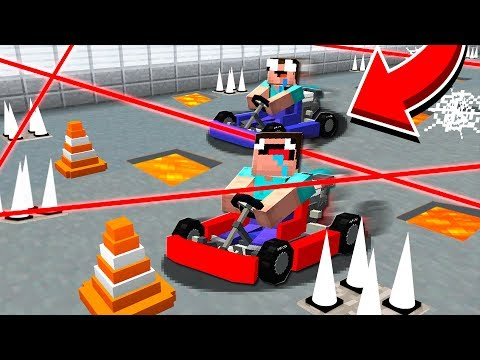 CRAZY MARIO KART MINECRAFT RACE WITH TRAPS!