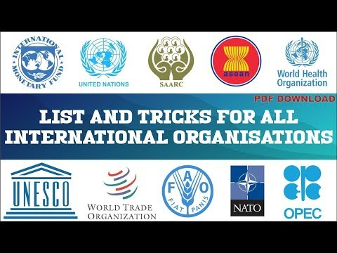 INTERNATIONAL ORGANISATIONS FULL FORMS with HEADQUARTERS - YouTube