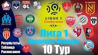 Лига 1 Чемпионат Франции 10 тур Результаты Таблица Расписание 11 тура