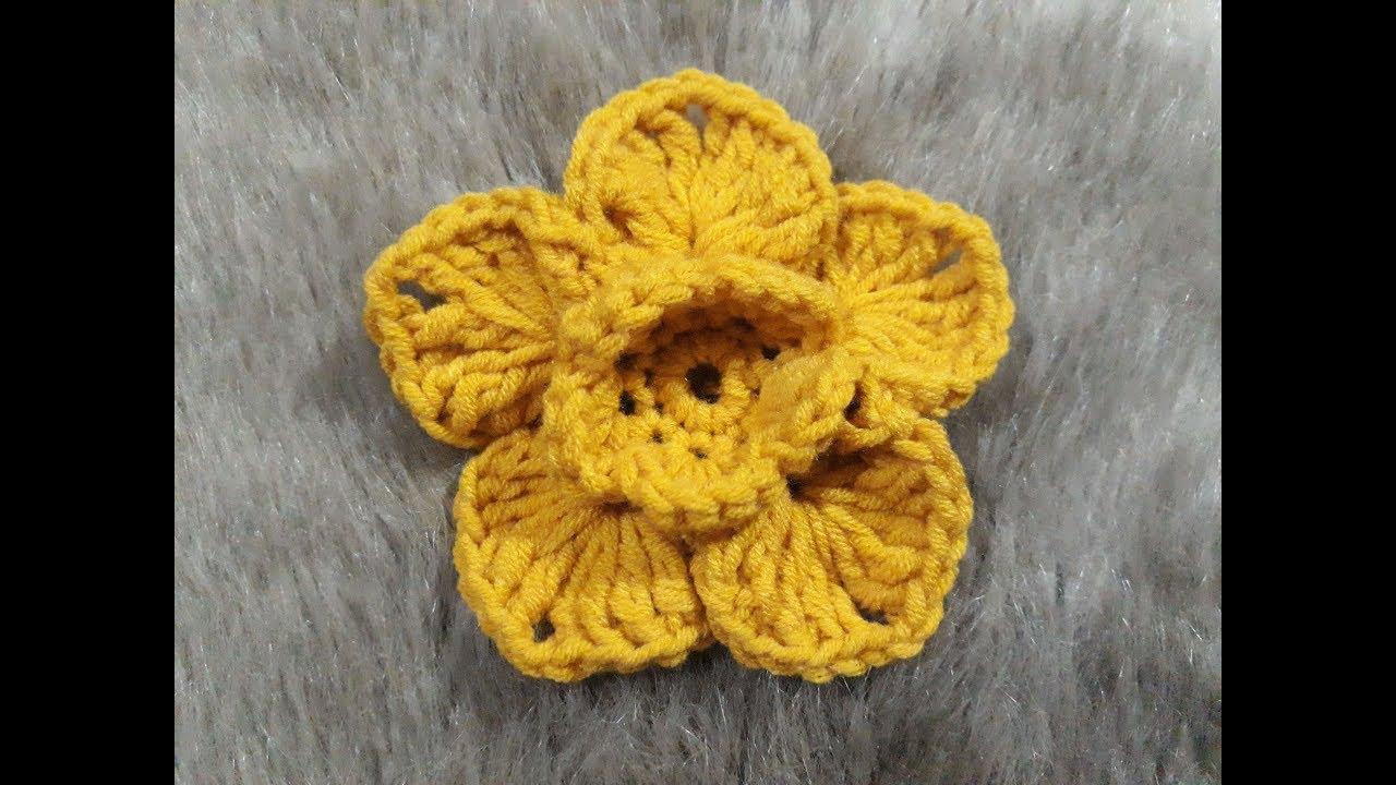 Cách Móc Bông Hoa 2 Lớp Bằng Len (Kiểu Số 1)/How to crochet 2-layer flowers (Tutorial 1)
