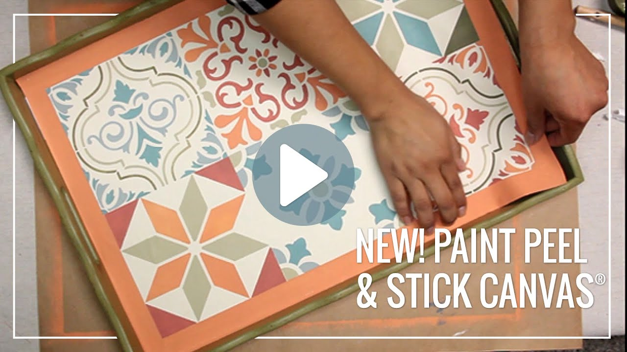paint peel stick canvas for stenciling easy diy decor youtube