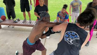 Street Boxer vs Football Player BOXING MATCH (ACTION)