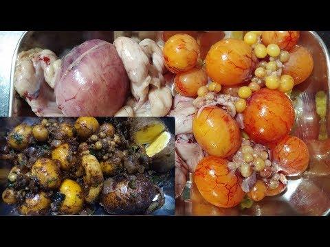 Chicken Unlaid Eggs fry recipe | Nati Koli Fresh Motte Fry In Kannada
